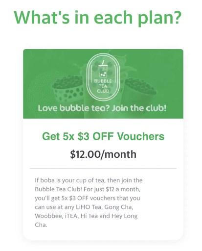 GrabFood Subscription Bubble Tea