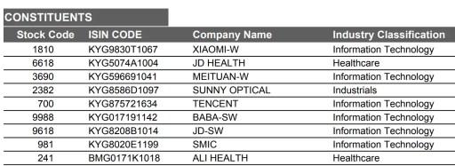 Hang Seng Tech Index Holdings Dec 2020