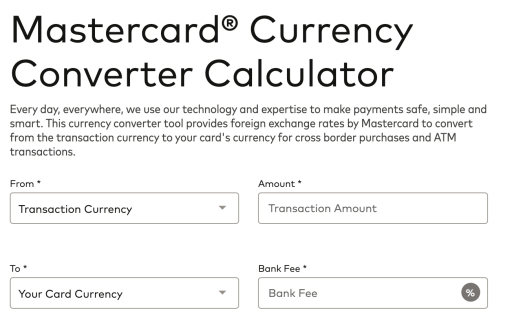 Mastercard Currency Converter Calculator 1