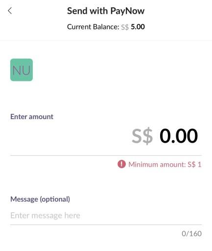 Singte Dash Select Transfer Amount