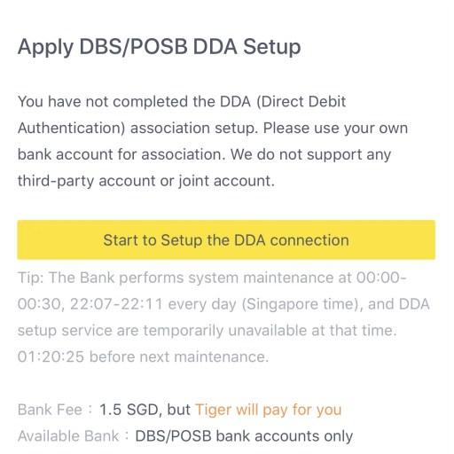 Tiger Brokers Direct Debit Setup