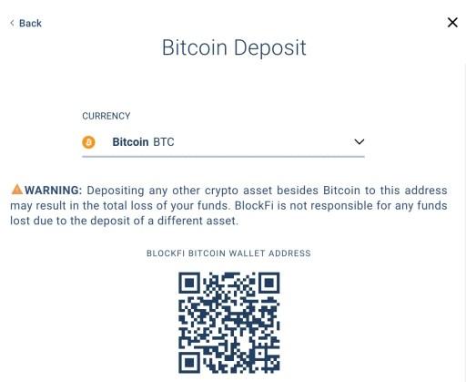 BlockFi Deposit BTC