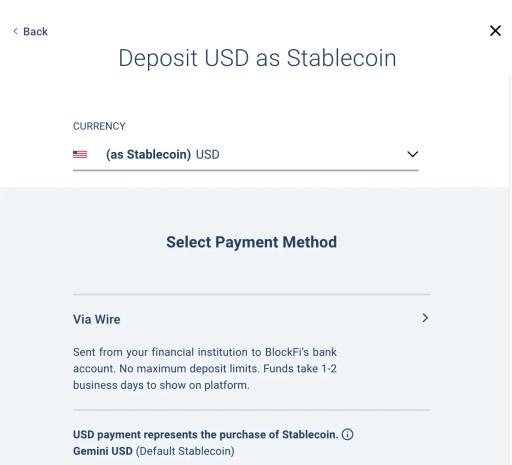 BlockFi Deposit USD