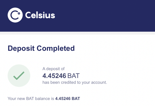 Celsius Confirmation Of Deposit Email