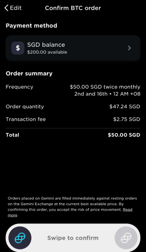 Gemini Recurring Buy Confirm Order
