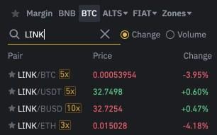 Binance LINK Trading Pairs