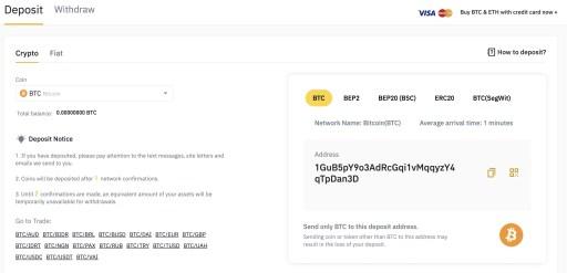 Binance View BTC Deposit Address
