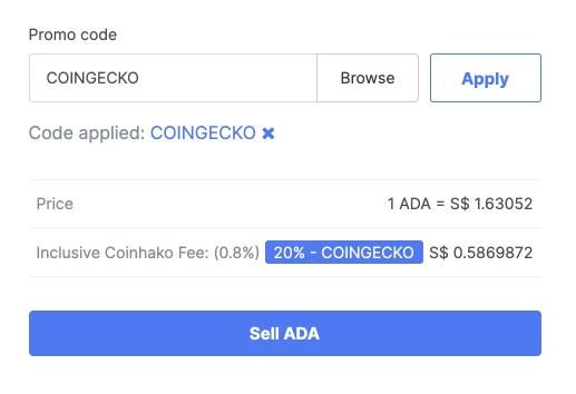 Coinhako Sell ADA Coingecko Fee