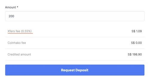Coinhako Xfers Direct Deposit Fee
