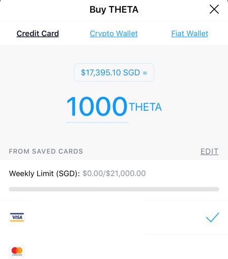 Crypto.com App Buy THETA Credit Card