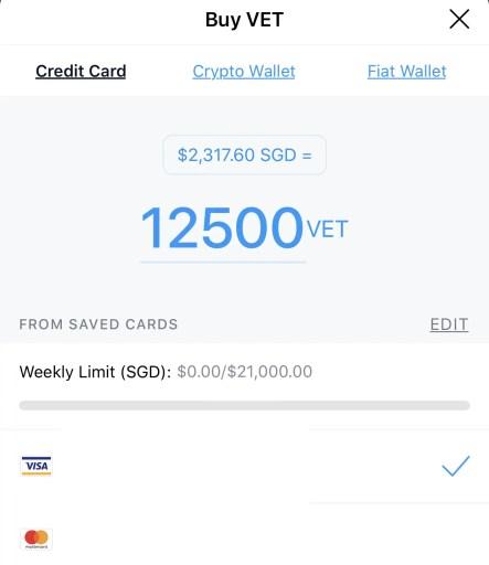 Crypto.com App buy VeChain Credit Card