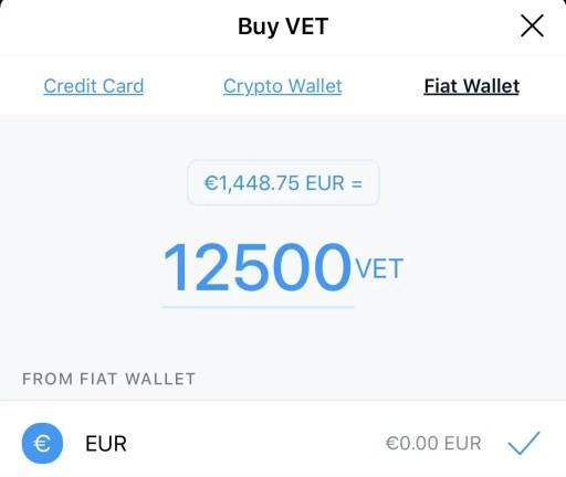 Crypto.com Buy VET From Fiat Wallet