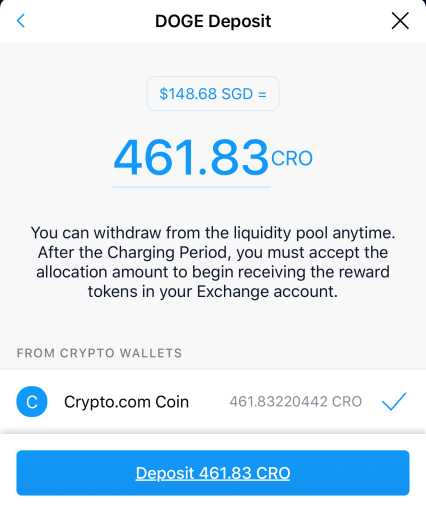Crypto.com Supercharger Select Amount To Be Deposited