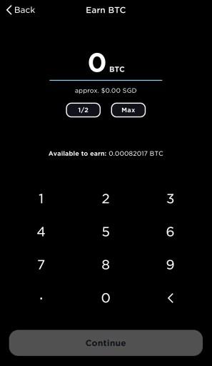 Gemini Earn Select Amount