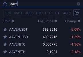 Huobi AAVE Trading Pairs