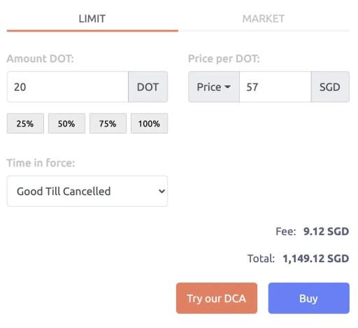 Tokenize Buy DOT Limit Order