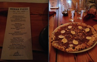 Nomad's Wood Fired Pizza, featuring a local/organic menu and a silent movie screen (some Charlie Chaplin flick was playing). Dessert: Nutella, banana & hazelnut pizza. *drool*