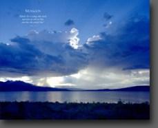 blue sky, clouds, lake