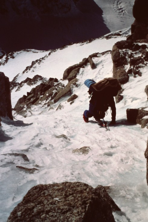 Robert Frank soloing high on the West Rib. Winter 1983