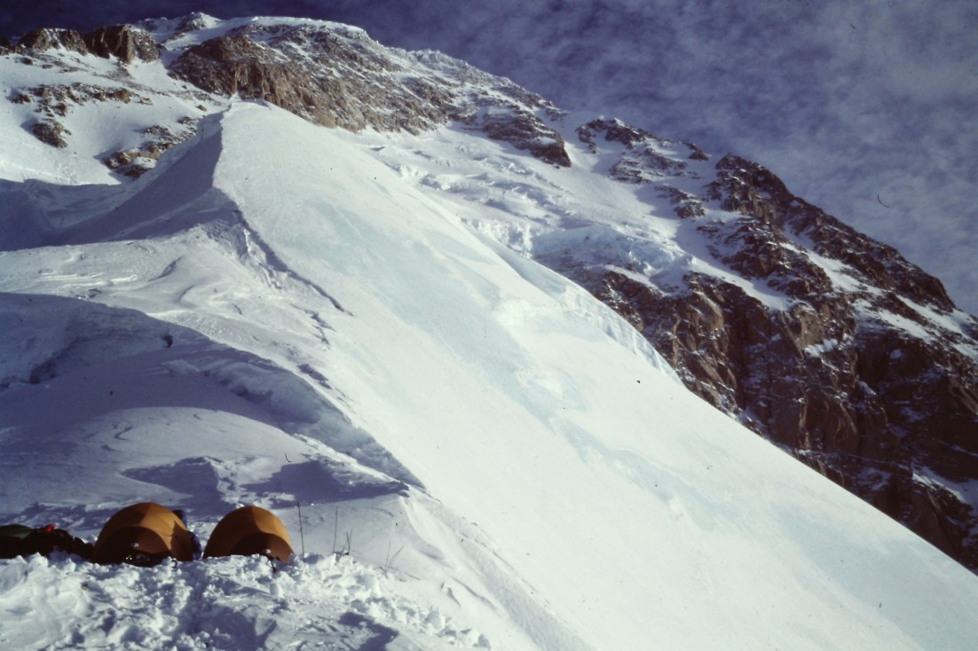 "Camp below the ""Snow Domes"" on the first winter ascent of the West Rib of Denali. Winter 1983"