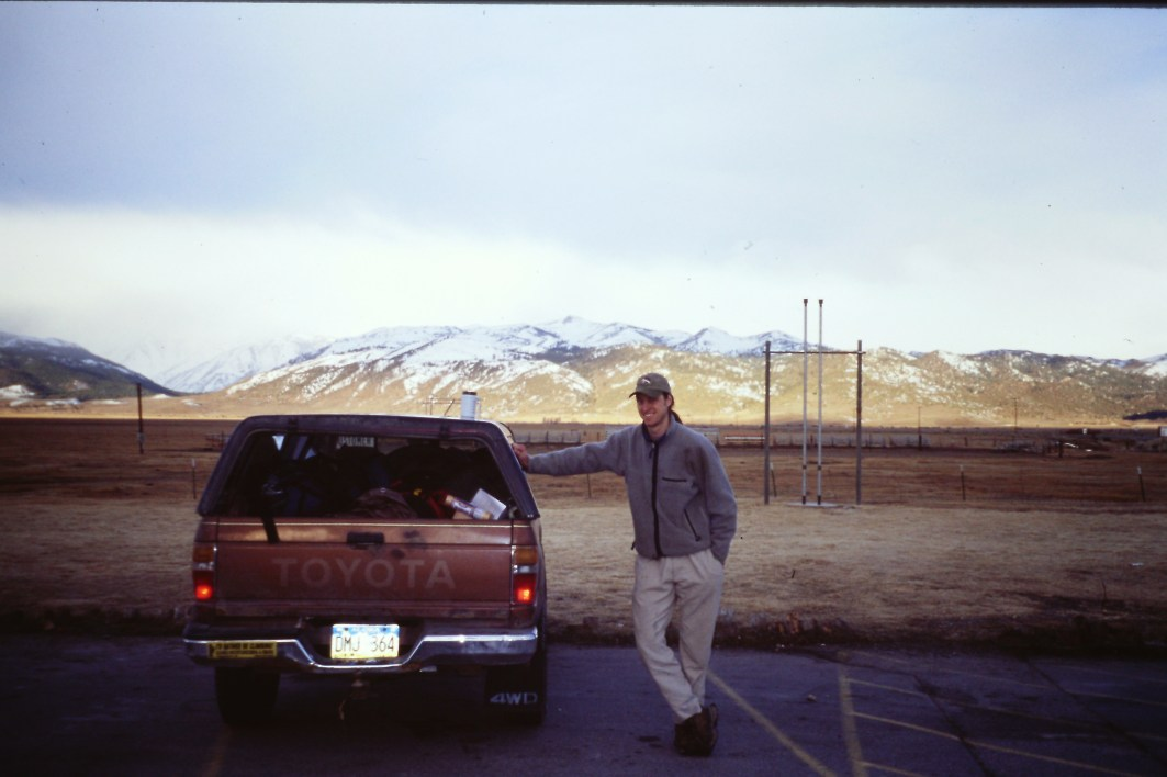 Tim next to the Toyota truck that miraculously made it from Alaska to the desert (sans headlights).