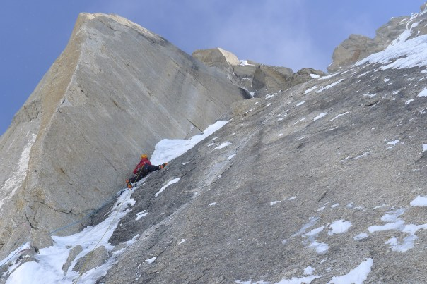"Helander leading ""The Prow"" on the Moonflower Buttress of Mount Hunter in 2012. Photo: Ryan Johnson"