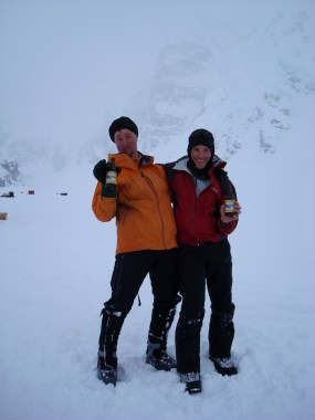 Eamonn and Mark celebrate after climbing Mount Hunter's Moonflower Buttress. May 2007 (Photo: Westman collection)