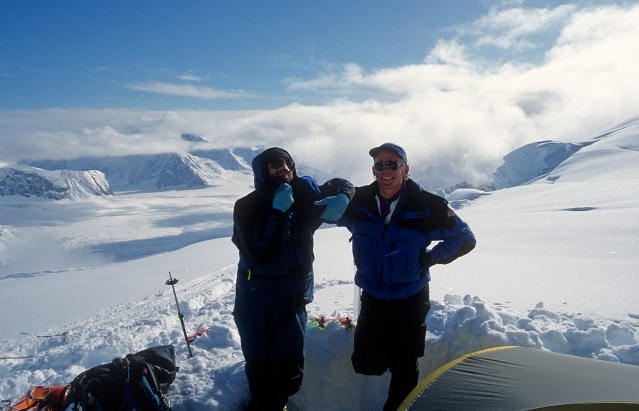 Joe and Mark in the north fork of the Ruth Glacier, Alaska. April 1995 (Photo: Westman collection)