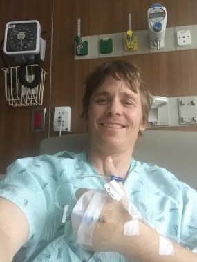 Mark in the University of Washington Medical Center, two days after his adrenalectomy surgery. May 2016 (Photo: Westman collection)