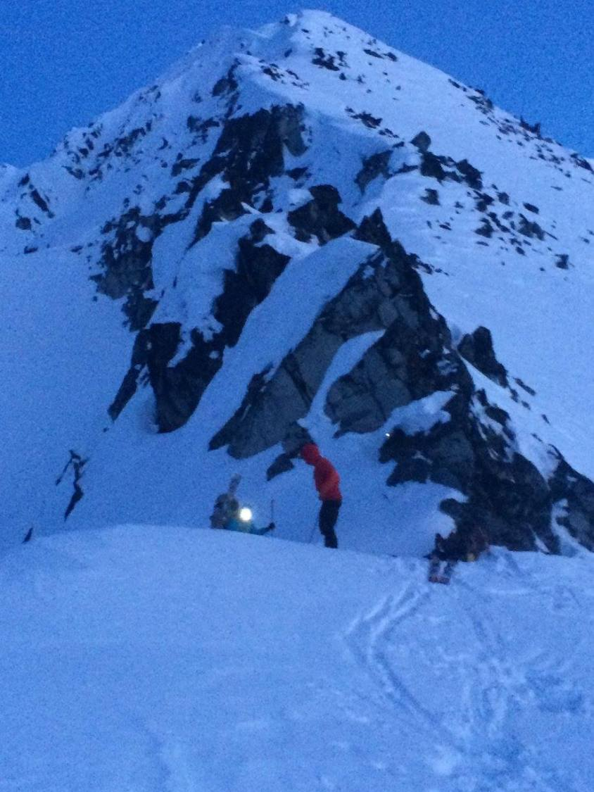 "Katie ""dropping in"" the the gnarly gully on the Talkeetna Traverse. Photo: Elizabeth Powers"