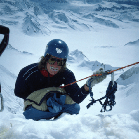 "Carl takes care of ""morning chores"" on Mount Hess. 1984 (Photo: Roman Dial)"