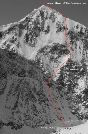 South East Face of Mount Hayes. Sam's line highlighted.