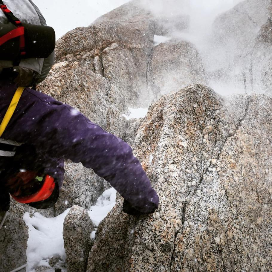 Mixed climbing on gorgeous granite in subpar weather, shortly before the Knife-Edge Ridge. Photo: Aaron Kurland