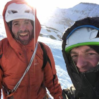 "Ryan and Sam Johnson after making the first ascent of ""Path of The Fallen"" 310m WI5. Jan, 2018."