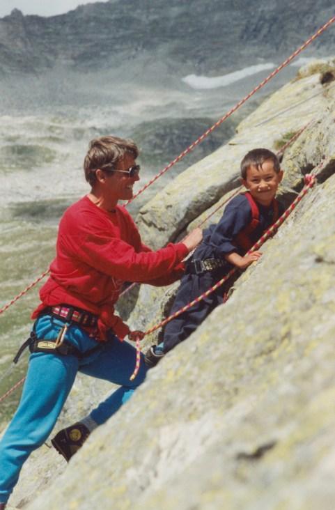 Peter Habeler with a young David Lama.