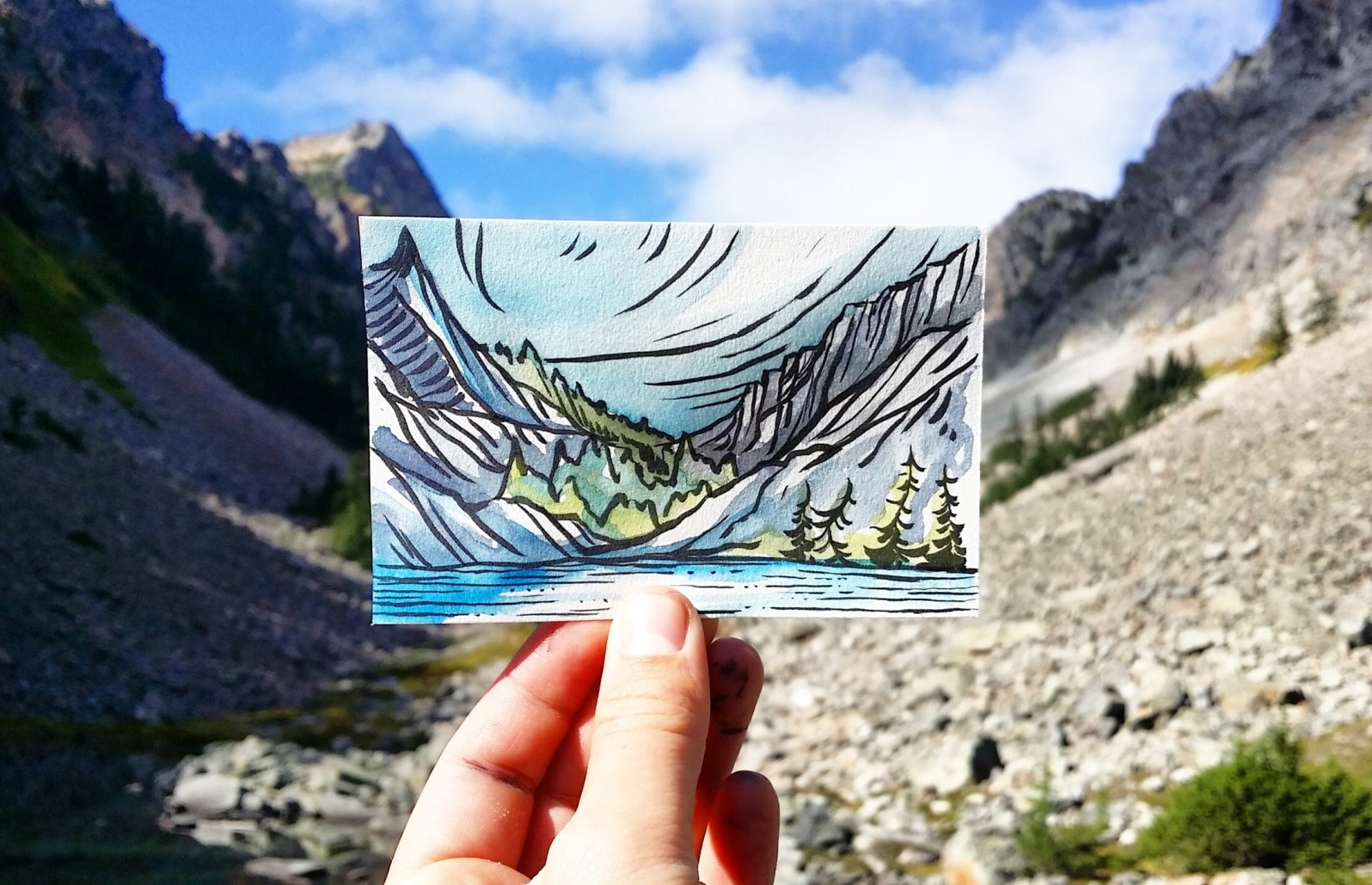 Tiny alpine lakes wilderness painting.