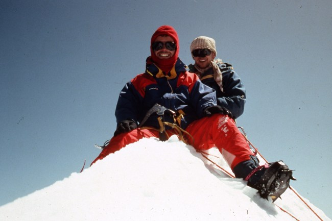 Malcolm (front) and Simon Yearsley on the summit of Yogeshwar (6700m, Garwhal, India) after first ascent of south face with Julian Clamp (photo) on their first trip to the Himalaya in 1992