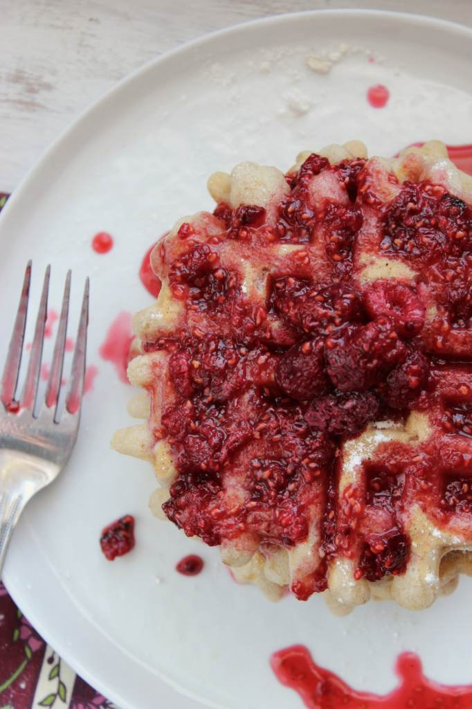 Vegan Gluten Free Waffles with Raspberry Lemon Syrup