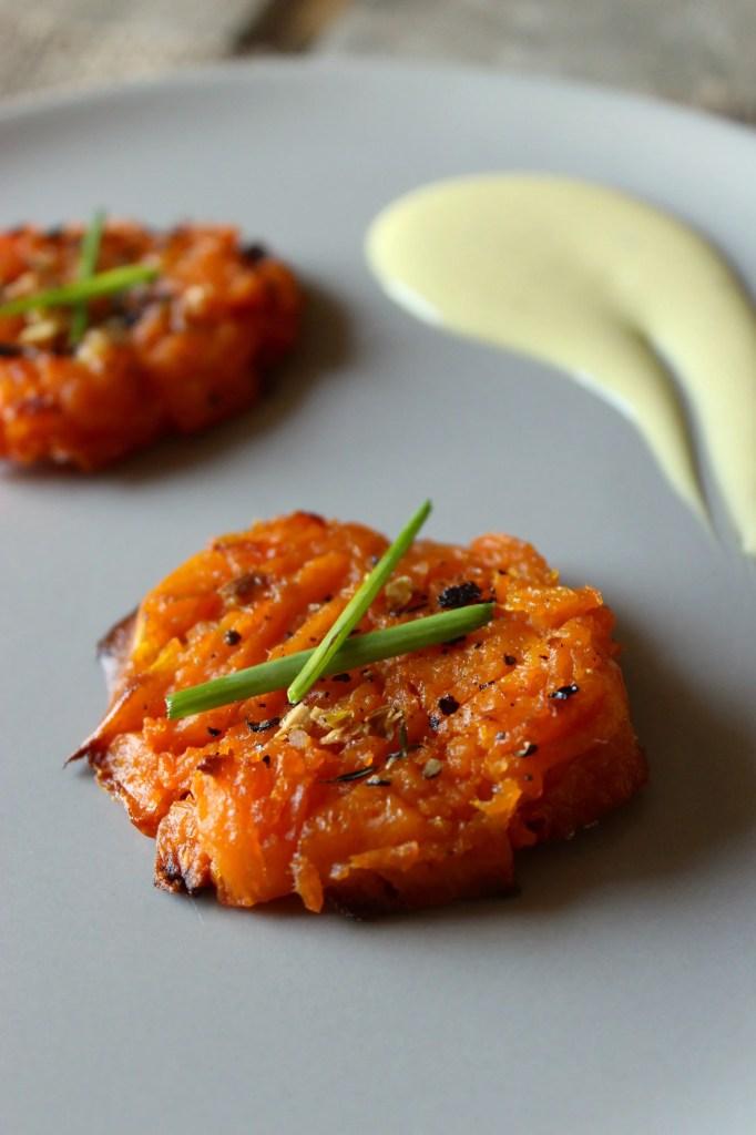 Savory Smashed Sweet Potatoes with Lemon Garlic Aioli