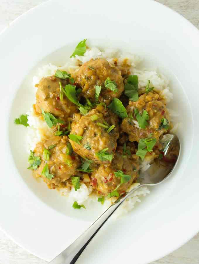 Thai Turkey Meatballs with Coconut Curry Sauce