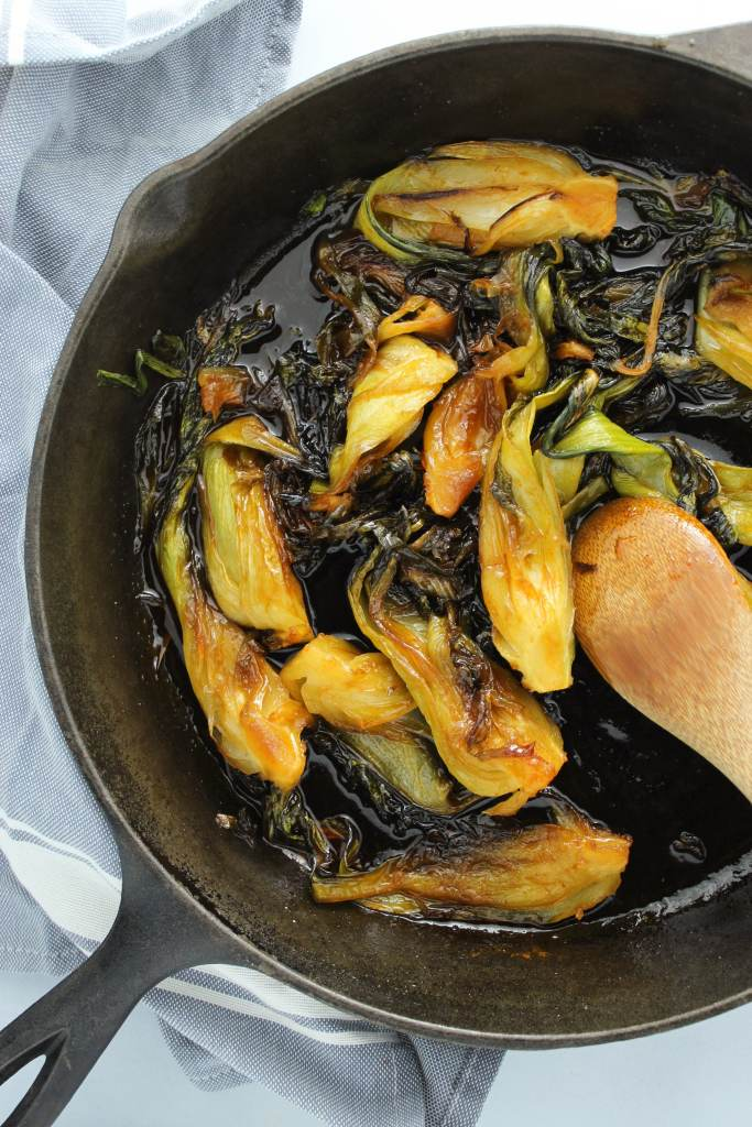 Sautéed in a sticky glaze, this bok choy has just enough crunch and a mouthwatering mixture of spicy and sweet. Delicious side dish or great served over rice!