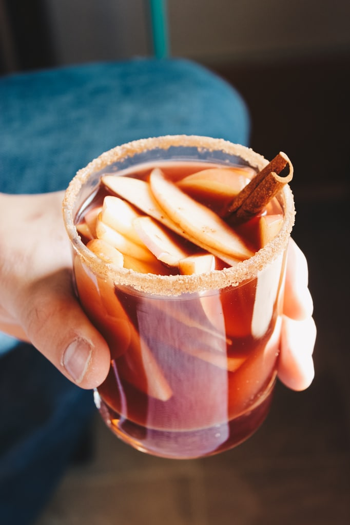 RED WINE APPLE CIDER SANGRIA! – This sangria recipe is a fall and holiday favorite! Full bodied red wine and apple cider are mixed together and poured over sliced apples and pears.