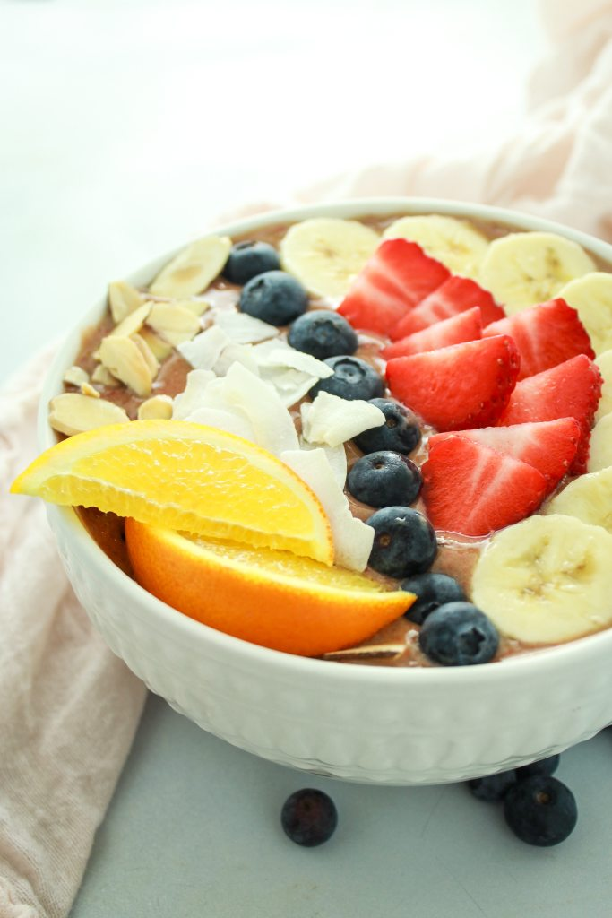 Strawberry Banana Smoothie Bowls – LOVE these bowls. I load up almonds, fresh berries, and bananas on top and I'm full for hours!