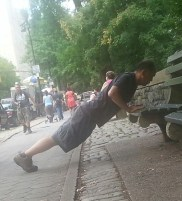 Working on new goals and new BENCH (marks) PUSH UPS! John W. of New York, NY