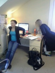 We work out of the office while we WORKOUT. Kim G. and Shelby L. (who, we kid you not, is 7 months pregnant) of Seattle, WA