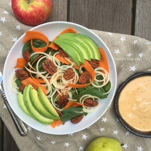 Spinach, Apple, Carrot and Spicy Pecan Salad with Creamy Pear Vinaigrette