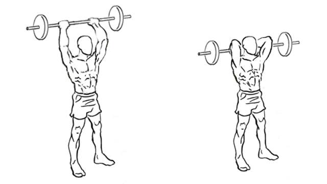 Standing Overhead Triceps Extension. This free weights exercise gives major benefits to your triceps.