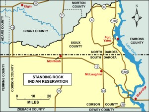 The Standing Rock Reservation, west of Lake Oahe. The DAPL passes 0.5 mile north of the northernmost tip of the reservation.