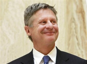 The Libertarian, Gary Johnson, who wants to force you to fund abortion.