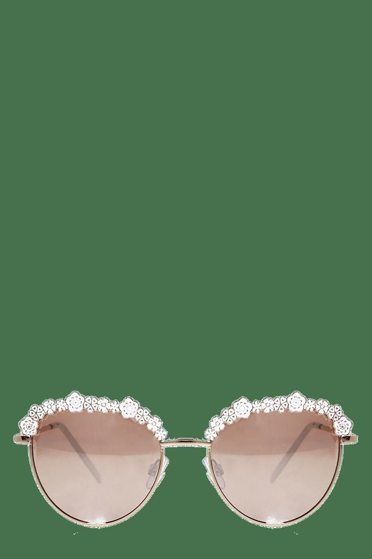 Floral Enamel Sunglasses >